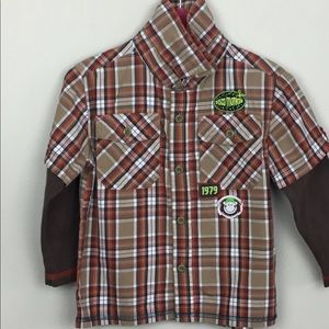 Other - Gagou Tagou long sleeve button front top sz2 plaid